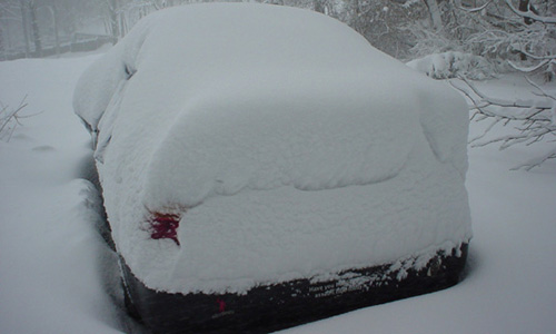 janklow's snow-covered car