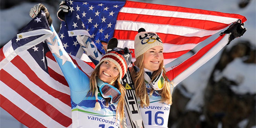 the US' Mancuso and Vonn celebrate their medal wins