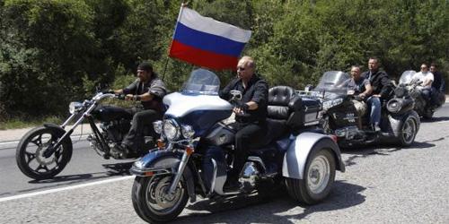 Vladimir Putin, with motorcycles