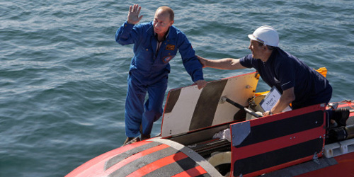 Vladimir Putin and submarine